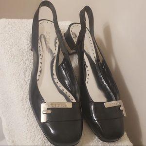 BCBG Black Heel Slingback Strap Sandals